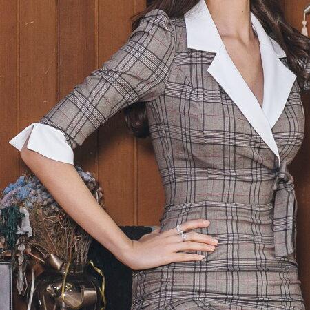 セクシー胸元開きカジュアルチェック柄膝丈七分袖ワンピース