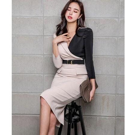 セクシー胸元開きバイカラー膝丈七分袖タイトワンピース_黒×ベージュ