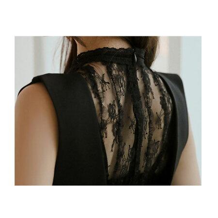 シースルーレース刺繍ショートパンツ仕立てロングドレスワンピース_黒