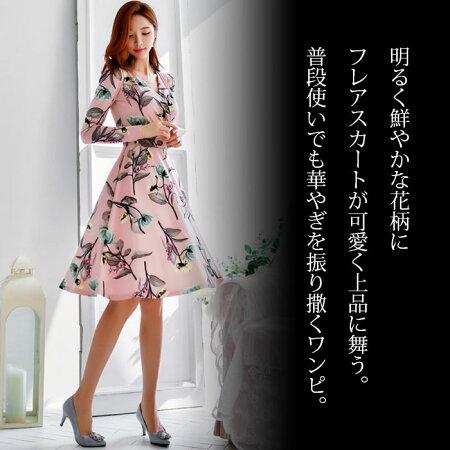鮮やか花柄エレガントフレアスカート膝丈ワンピース_ピンク