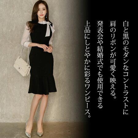 シンプルスレンダー上品リボン七分袖ワンピース_黒×白