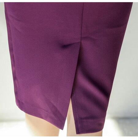 スクエアネック胸元七分袖膝丈シンプルドレスワンピース_紫