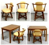 木製キャスター付き回転椅子幅53濃い木目10.0kg[キャスターツキカイテンチェアコンボNO.530Dブラウン]