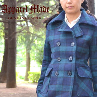 Double-faced cloth / good quality wool orthodox school traditional fashion-style such as melton P coat / double-faced cloth pea coat /Apparel made/ apparel maid / back tartan check Black Watch checks
