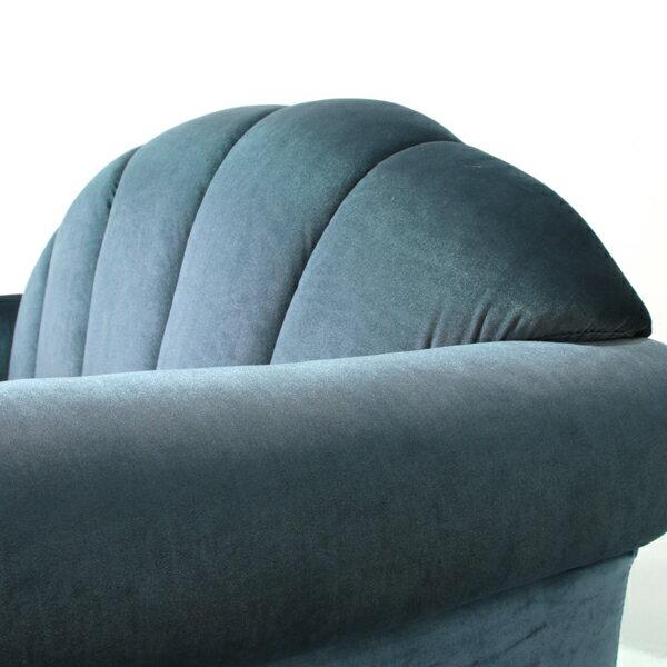 ブルーベルベットシェルデザイン2シーターソファソファー二人掛け2人掛け2シーターラブシェル貝殻アンティークヴィンテージビンテージレトロベルベットブルー青色ファブリックイギリスVS2F92K