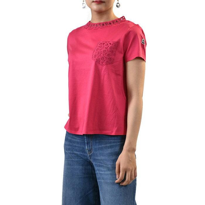 モンクレール レディースカットソー Tシャツ MONCLER 80704 00 8390X 562 ピンク