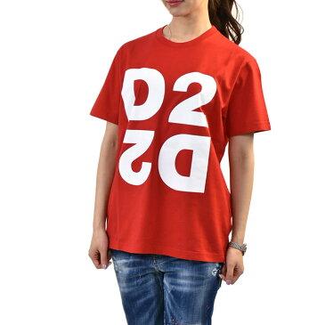 ディースクエアード 半袖 Tシャツ カットソー DSQUARED2 S75GD0074 S22427 T-SHIRT D2 307 レッド レディース Sサイズ 訳あり