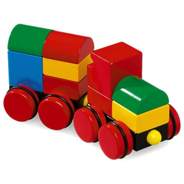 BRIO ブリオ マグネット式スタッキングトレイン(赤タイヤ)〜BRIOの赤ちゃんの木のおもちゃシリーズ。汽車の木製マグネットブロックです。ウッドブロックで素敵な汽車を組み立てましょう!