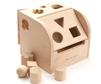 [ダイワ]木製アイデアBOX~子供が大好きな型ハメと鍵で遊べる、木製キーボックスです。