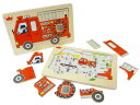 [メール便可] Ed.inter エドインター ファイヤートラック パズル Fire Truck Puzzle〜色鉛筆のやさしいタッチのイラストが特徴的な消防車の木製パズルです。2歳ごろから楽しめるパズルです。