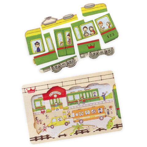 [メール便可] Ed.inter エドインター 木製パズル ゴー!ゴー! トレイン! Go!Go!Train!〜エドインターの色鉛筆のやさしいタッチのイラストが特徴的な電車の木製パズル。2歳ごろから楽しめるパズルです。