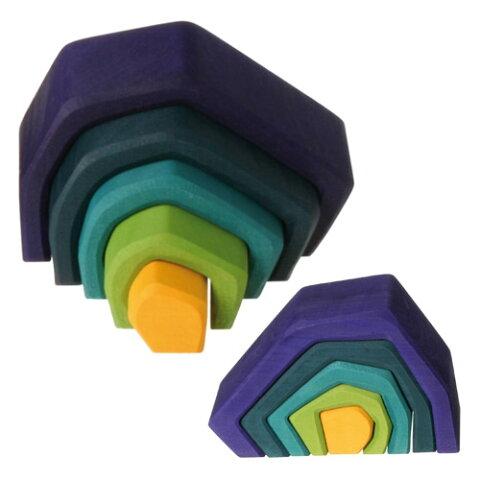 Grimm's Spiel & Holz Design グリムス社 エレメント積み木 ミニストーン〜ドイツ・グリムス社の大地がモチーフの美しい色彩の積み木です。子供たちの想像力の赴くままに遊べる積み木です。