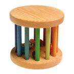 Grimm's Spiel & Holz Design グリムス社 虹のドラムロール ベービーローラー ナチュラル〜ドイツ・グリムス社の転がすとカラカラ♪楽しい音がする赤ちゃんの木のおもちゃです。