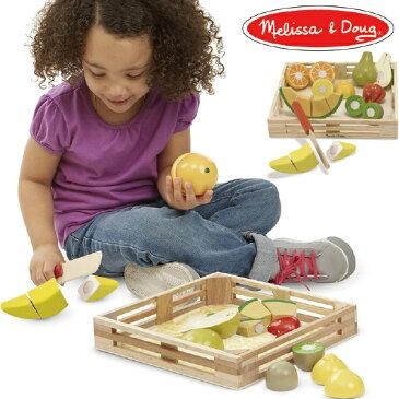 Melissa & Doug メリッサ&ダグ カッティングフルーツセット 3歳、4歳の男の子、女の子のお誕生日プレゼントやクリスマスプレゼントにおすすめ。アメリカの大手玩具メーカーMelissa & Doug(メリッサ&ダグ)の木製のおままごと用玩具(おもちゃ)です。