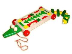 [Ebert エバート社] ワニの積み木ワゴン 53p〜ドイツの幼児教育玩具メーカーEbert(エバート社)...
