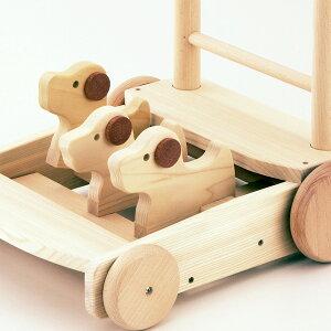 森の押車(いぬ),日本製,木のおもちゃ,カタカタ,手押し車,ベビーウォーカー,Mocco,モッコ