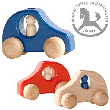 Konrad Keller ケラー社 1人のりPKW (白木/赤/青)〜ドイツのおもちゃメーカーKonrad Keller(ケラー社)のシンプルで美しいブナ材でできた木の車です。はじめての車のおもちゃにピッタリな木製ミニカーシリーズ。誕生日プレゼント 1歳 1歳半 2歳 男の子 クリスマス 木製