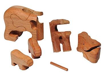 Ecowoods BO エコウッズ社 3Dパズル クマの親子〜自然素材、エコウッドを使用したクマの親子の木製立体パズル『エコウッド 3D パズル』です。林業において使い道のない小さな木材を再利用して作っているパズルです。