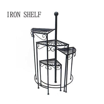 【送料無料】 シェルフ 飾り棚 花台 ランプ台 らせん型 アイアン モダン らせん型4段シェルフ 週末ポイント5倍