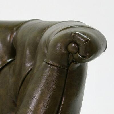 ラムズゲイトシングルソファラムズゲート椅子イスボタンタフテッドアンティークアンティーク家具調ヴィンテージレトロイギリスフランスヨーロッパ北欧本革調レザーソフトレザービニールレザーPUPVC合成皮革グリーンカーキ緑RM1P35K