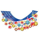 夏祭り装飾 お祭り花火ちょうちんプリーツハンガー  L180cm/ 装飾 飾り ディスプレイ