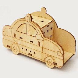 木製工作キット お絵かきパトカー LEDライト付き /動画/ メール便可