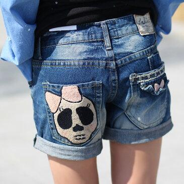 激カワの女の子ドクロの刺繍入りのバックポケットがアクセント!ロールアップのショートデニムパンツロリータLolita・ロリータ■ lo-no750【10P05Dec15】