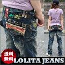 【宅急便送料無料】カワイイワッペンがポイント★使いやすくて便利♪ボーイフレンドジーンズ【Lolita Jeans】【ロリータジーンズ】【レディース】【ボーイフレンドデニム】【ボーイズデニム】■lo-1180【10P05Dec15】