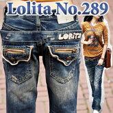【送料無料】ゆったりシルエットが魅力!ロリータならではのディテールなバックが◎ロリータジーンズ LolitaJeans ロリータ ジーンズ Lolita Jeans レディース ボーイフレンドデニム ボーイズデニム■pat-299【1001LF】【LF1105】
