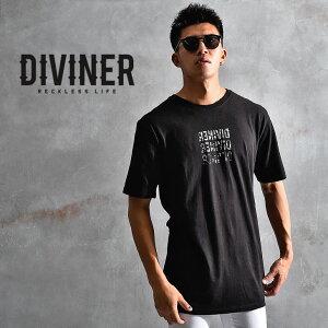 DIVINER ディバイナー tシャツ メンズ ロング丈 ロング カットソー 半袖 ゆったり 厚手 おしゃれ 大きいサイズ お兄系 黒 白 ブラック ホワイト コットン ストリート ビッグ ビッグシルエット ブランド 無地 大きいサイズ LL XL