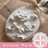 花リボンフレーム穴あき通し穴タイプシリコンモールドバラレジンアロマストーン手作り石鹸キャンドル樹脂粘土オルゴナイト型抜き型