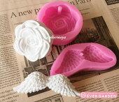 バラ 羽 セット 穴あき 花 シリコンモールド レジン アロマストーン 手作り 石鹸 キャンドル 樹脂 粘土 オルゴナイト 型 抜き型