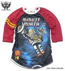 宇宙 ギャラクシー Tシャツ MINUTE MIRTH ミニットマース 原宿系(SHIROI NEKO シロイネコ) ラグラン 7分袖 ロンT メンズ : ブリキロボットと宇宙のフルカラープリント長袖ラグラン七分袖Tシャツ!