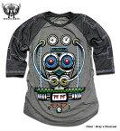 MINUTE MIRTH ミニットマース (SHIROI NEKO シロイネコ) ラグラン 7分袖 ロンT メンズ : 着るだけでブリキロボットに!?フルカラープリント長袖ラグラン七分袖Tシャツ!