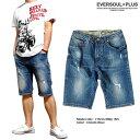 ショートパンツ デニム メンズ デニムショートパンツ ハーフパンツ 五分丈 5分丈 ブルー ダメージ カモフラ 迷彩 厚手 ウォッシュ