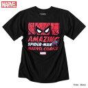 スパイダーマン プリント Tシャツ メンズ ロゴ マーベル 半袖 キャラクター MARVEL アメコミ tシャツ グッズ 黒 ブラック