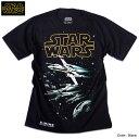 スターウォーズ Tシャツ メンズ 半袖 STARWARS ブラック 黒 X-WING 戦闘機 プリント キャラクター グッズ ロゴ