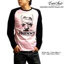 キャラクター プリント メンズ ラグラン Tシャツ 「Assassin Johnny Ragran LST (SNP)」 パロディイラストのジョニー君がキュートなラグランロンT!【日本製 MADE IN JAPAN】