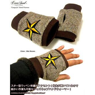 """保暖手套手溫暖的手套的手指孔由日本""""石像鬼""""手溫暖 2 星級標誌繡 jaznephandwormer (手套)"""