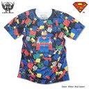 スーパーマン Tシャツ グッズ メンズ tシャツ SUPERMAN : ブロックトイになったスーパーマンが可愛いフルカラーインクジェットプリントTシャツ!