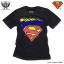 スーパーマン Tシャツ グッズ メンズ tシャツ SUPERMAN : ハードウォッシュ加工の絶妙な色落ちがビンテージ感抜群のスーパーマンフロッキーロゴプリントTシャツ!