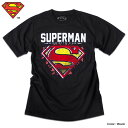 スーパーマン Tシャツ 半袖 ロゴ マーク プリント SUPERMAN アメコミ tシャツ グッズ メンズ キャラクター 黒 ブラック