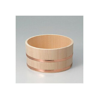 Hinoki bath pail with copper hoops