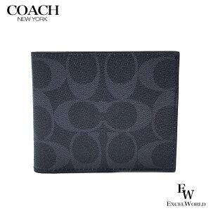 コーチ 財布 アウトレット メンズ 二つ折り財布 F66551 QBDEN COACH パスケース付き デニム【あす楽】エクセルワールド ブランド プレゼントにも ウォレット SS07