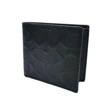 コーチ 財布 メンズ アウトレット 二つ折り COACH 人気のコインケース付き ウォレット シグネチャー F75363 BLK ブラック【あす楽 】