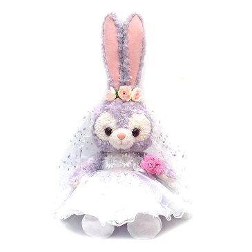 ステラルー ぬいぐるみ用 コスチューム ウェディング ドレス ディズニー Sサイズ ライトピンクのフラワーとスパンコールのベール ピンクのお花のカチューシャ 当店オリジナル Wedding-SL-LTPK-SPAN-PKHB【あす楽】 エクセルワールド ディズニーグッズ かわいい