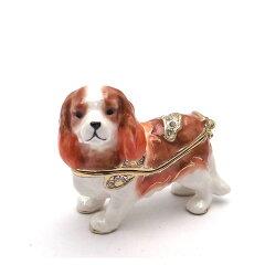 ジュエリーボックス(宝石箱)キャバリア 天真爛漫な犬の置物 418-1[エクセルワールド]