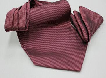 アスコットタイ/エンジ/WEB限定 格安アスコットタイ&チーフセット。安心の国内縫製の手結びタイプのアスコットタイです。