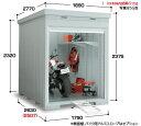 イナバ物置 バイク保管庫 FXN-1726HY(床付タイプ・ハイルーフ)バイクガレージ 屋外 収納庫 倉庫