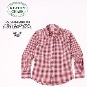 KEATON CHASE USA (キートンチェイスユーエスエー) L/S STANDARD BD MEDIUM GINGHAM SHIRT LIGHT LINING - WHITE_RED ボタンダウンシャツ メンズ